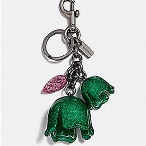 Coach💖🌹Glitter Tea-rose Bag Charm Keychain